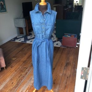 90s VTG Chaps Denim Maxi Sleeveless Shirt Dress, M